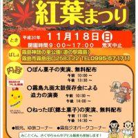 11月18日 (日) 10時より「きりしま紅葉まつり」開催!